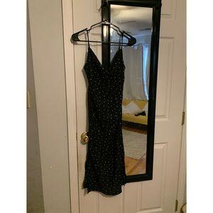 Polka Dot Cowl Neck Midi Dress